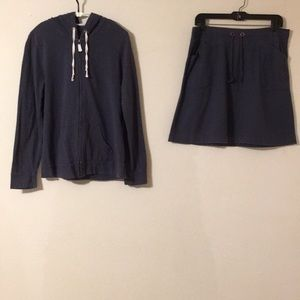 Women's Full Zip Hoodie and Skirt Outfit